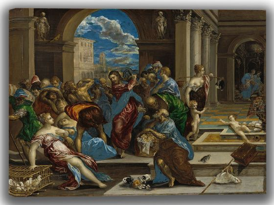 El Greco (Domenico Theotocopuli): Christ Cleansing the Temple. Fine Art Canvas. Sizes: A4/A3/A2/A1 (004092)